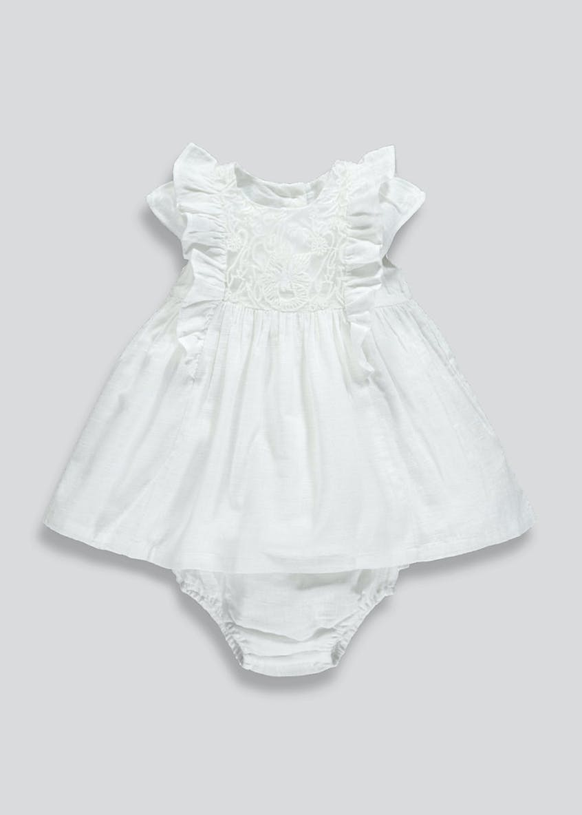 Girls Floral Embroidered Occasion Dress (Newborn-18mths)