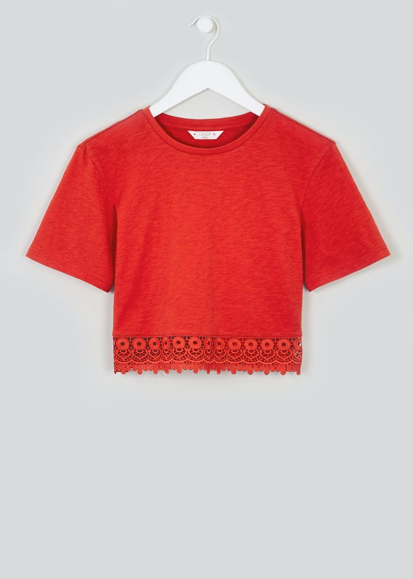 Girls Candy Couture Lace Trim Cropped T-Shirt (9-16yrs)