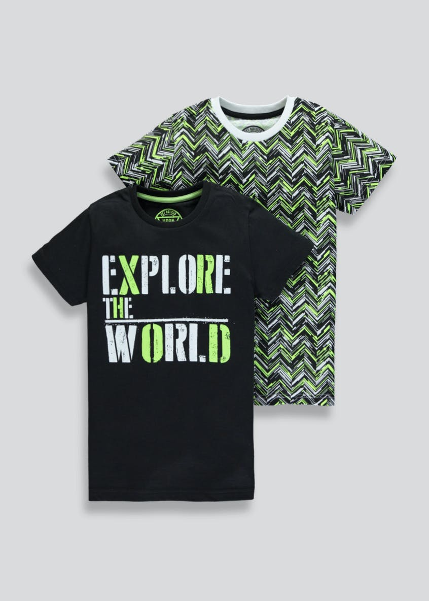 Boys 2 Pack Explore T-Shirts (4-13yrs)