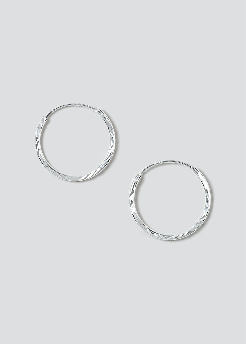 Sterling Silver 925 Engraved Sleeper Hoop Earrings