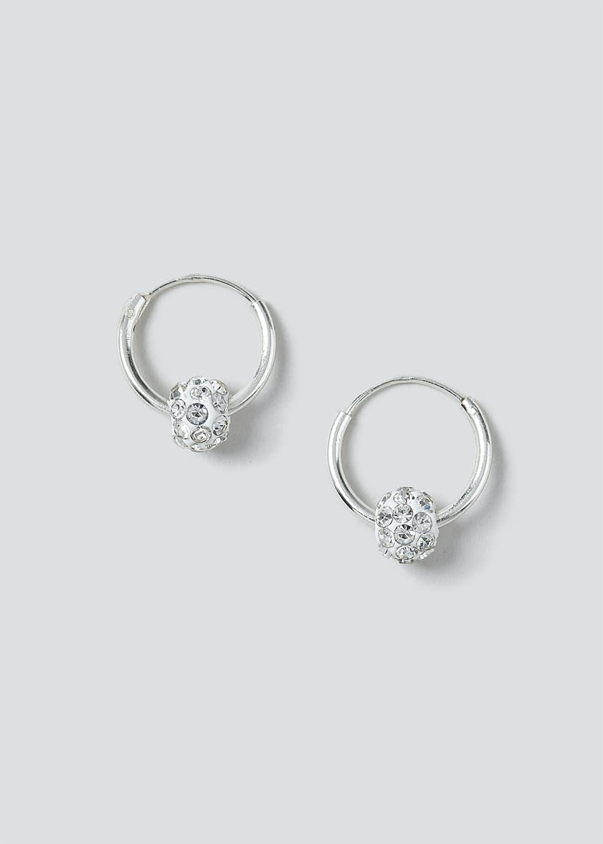Sterling Silver 925 Mini Sleeper Hoop Sparkle Earrings