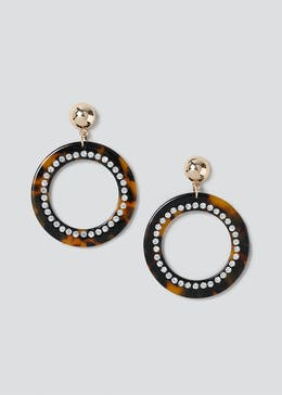 Tortoiseshell Hoop Sparkle Earrings