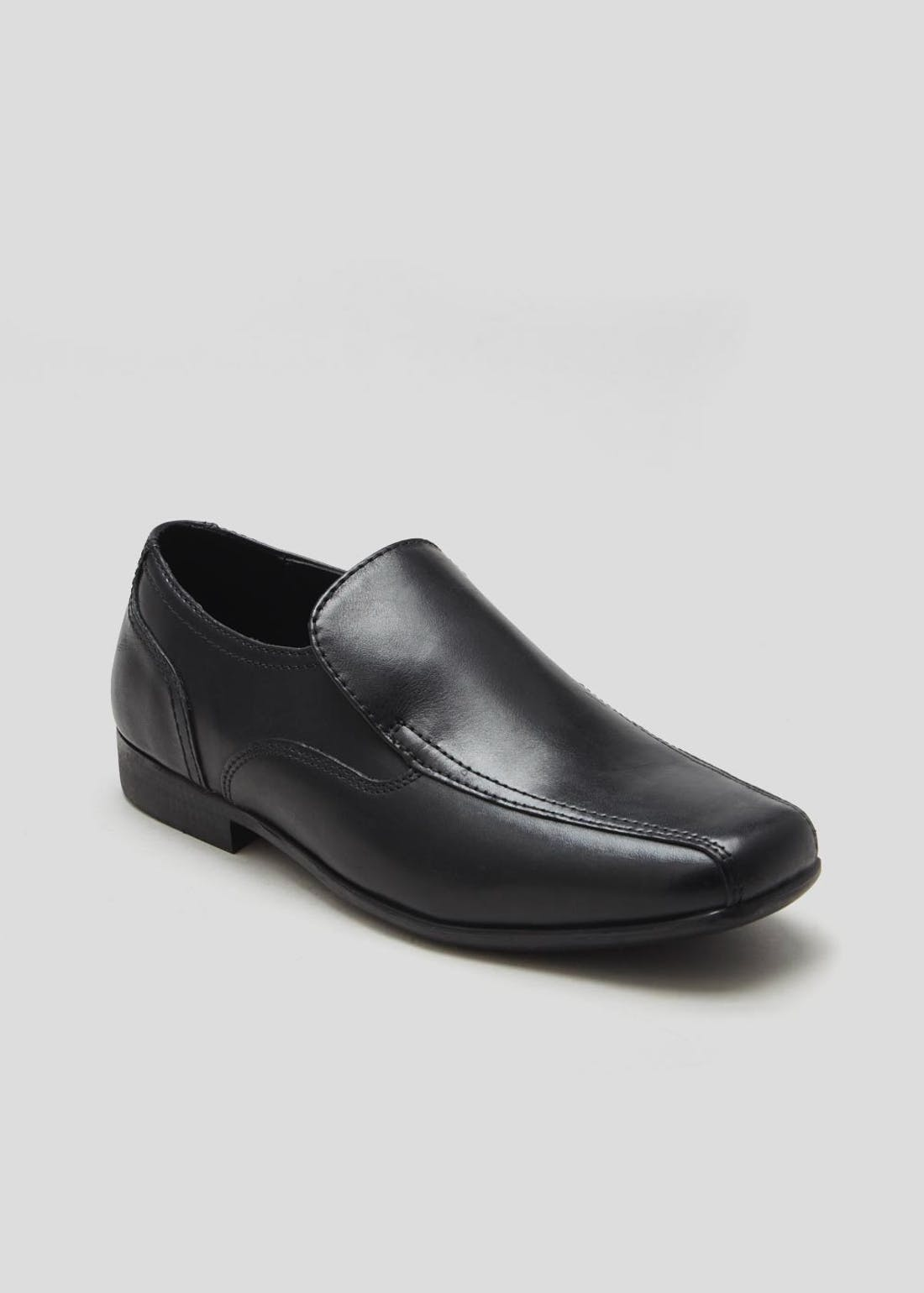 Boys Black Leather Slip On Shoes (Younger 10-Older 6)