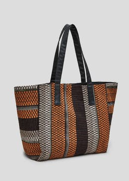 27ea45716b08 Textured Stripe Tote Bag
