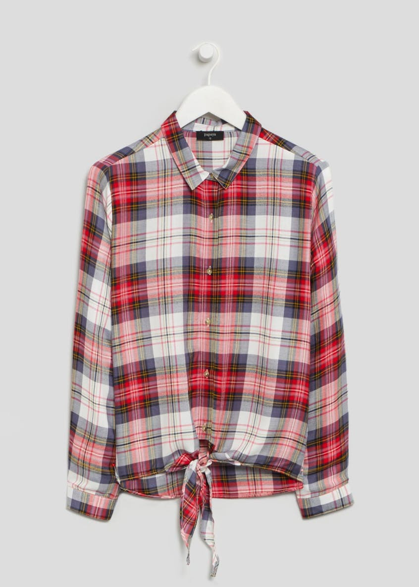 Tie Front Check Shirt