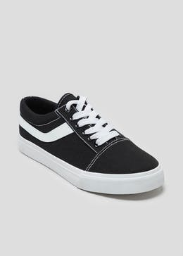 Black Lace Up Canvas Trainers