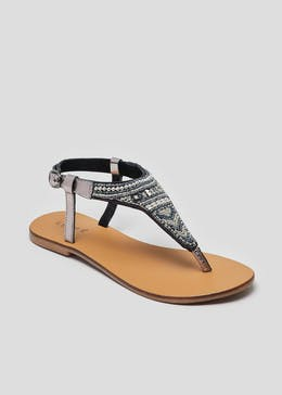 054720c22ec Real Leather Embellished Toe Post Sandals