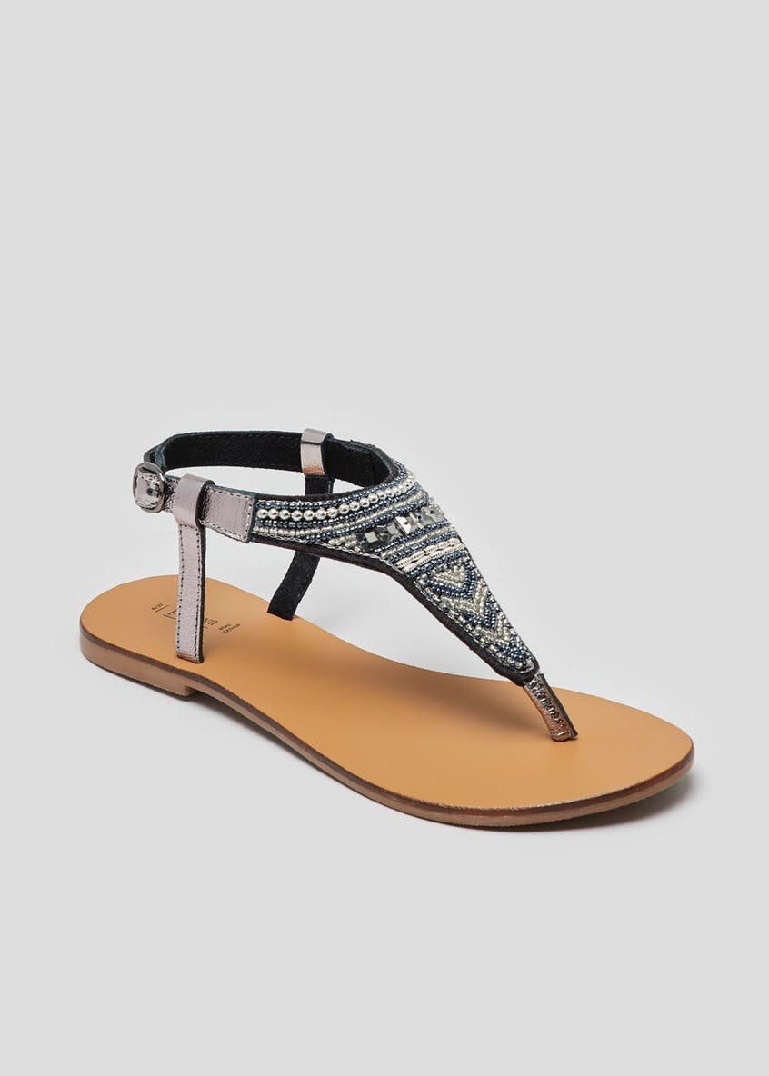 Real Leather Embellished Toe Post Sandals