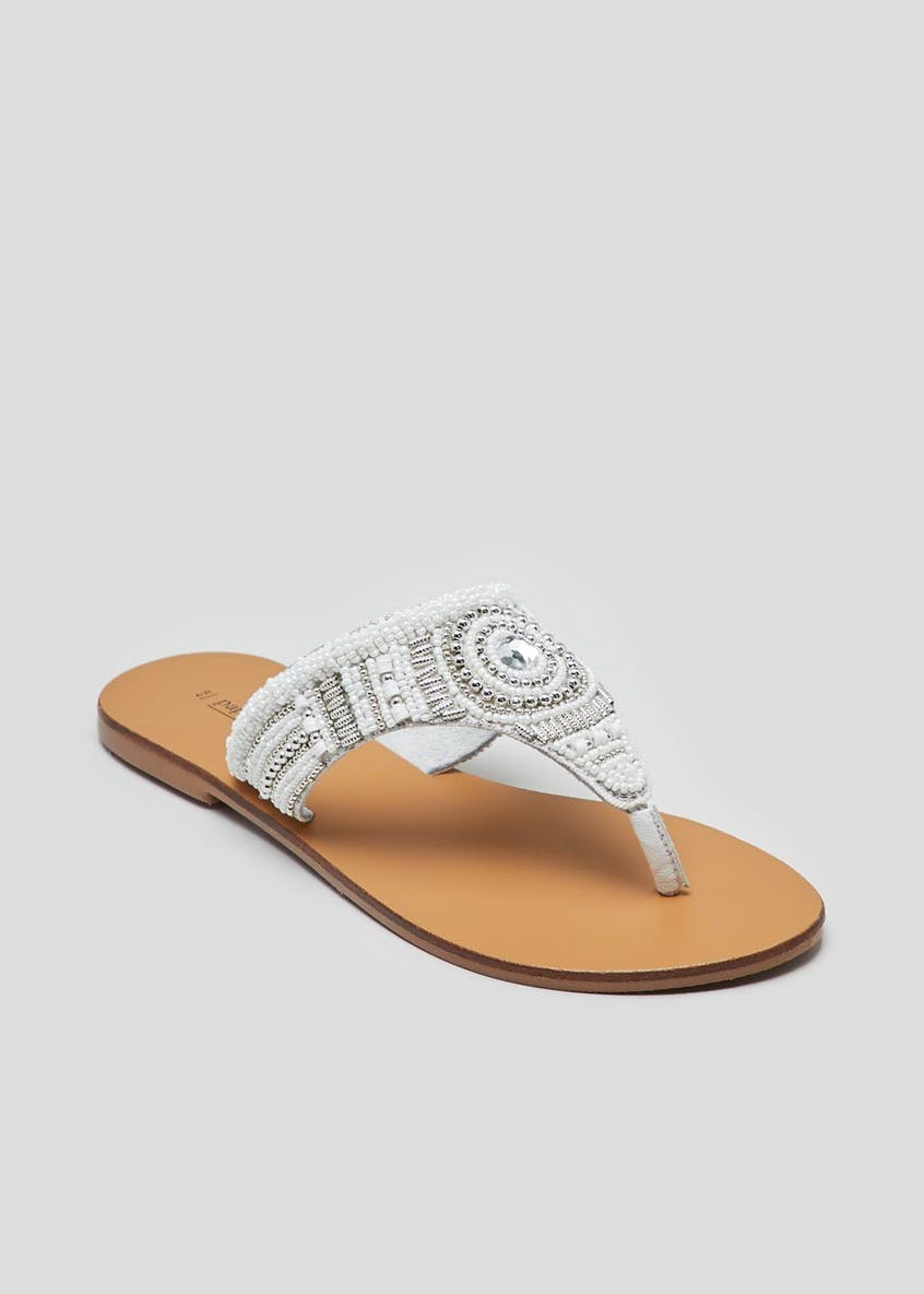 Real Leather Embellished Toe Post Mule Sandals