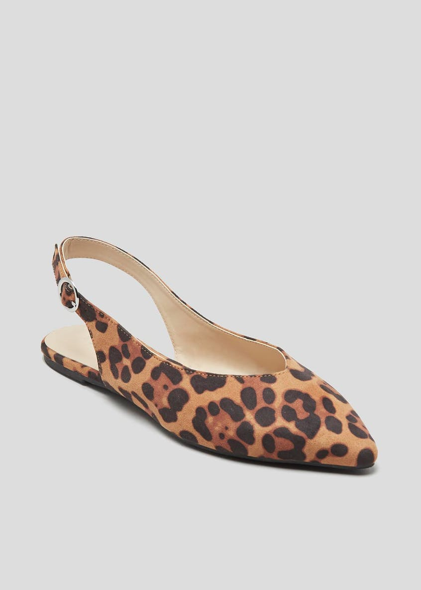 Leopard Print Sling Back Pointed Shoes