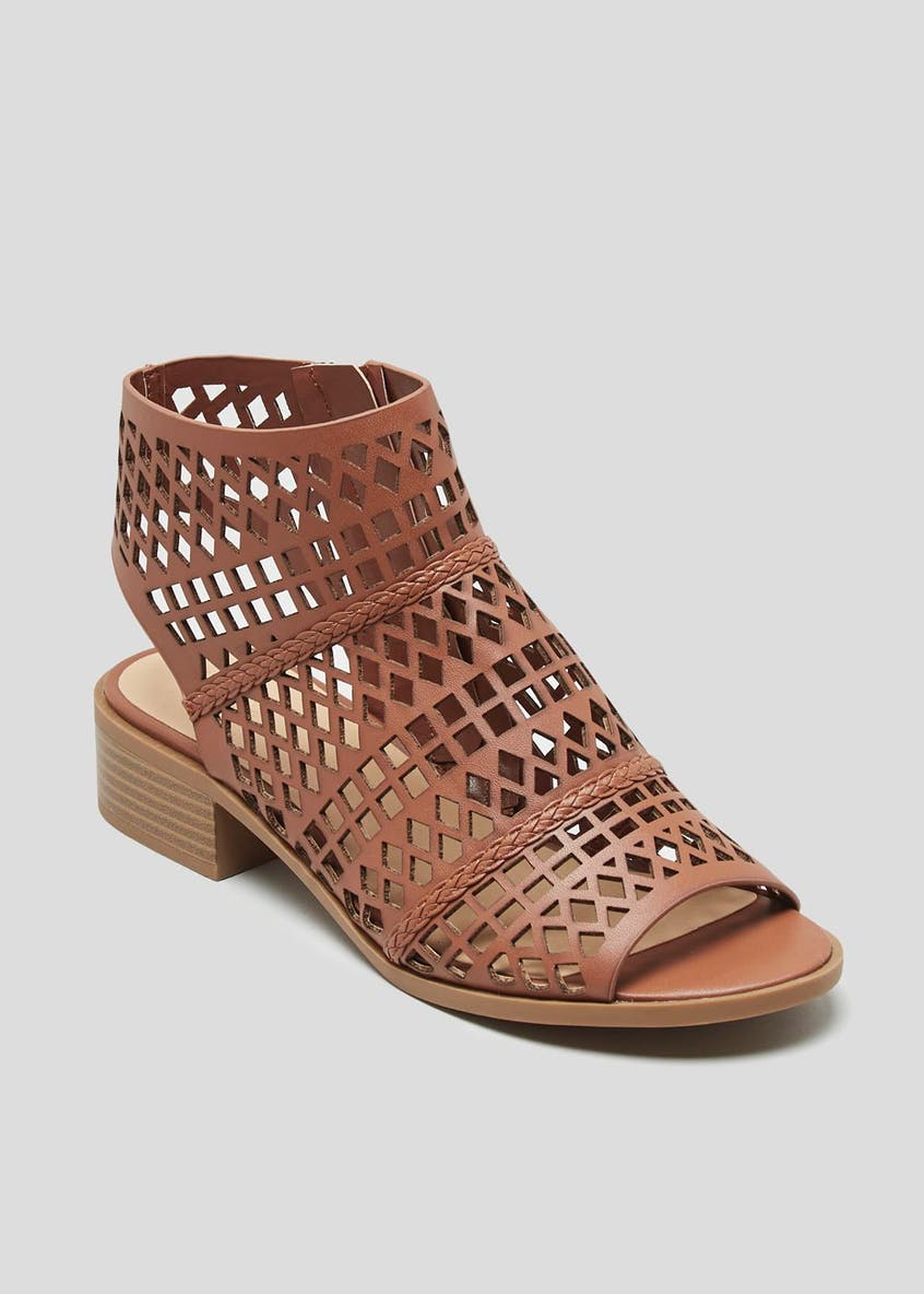 Wide Fit Laser Cut Block Heel Sandals