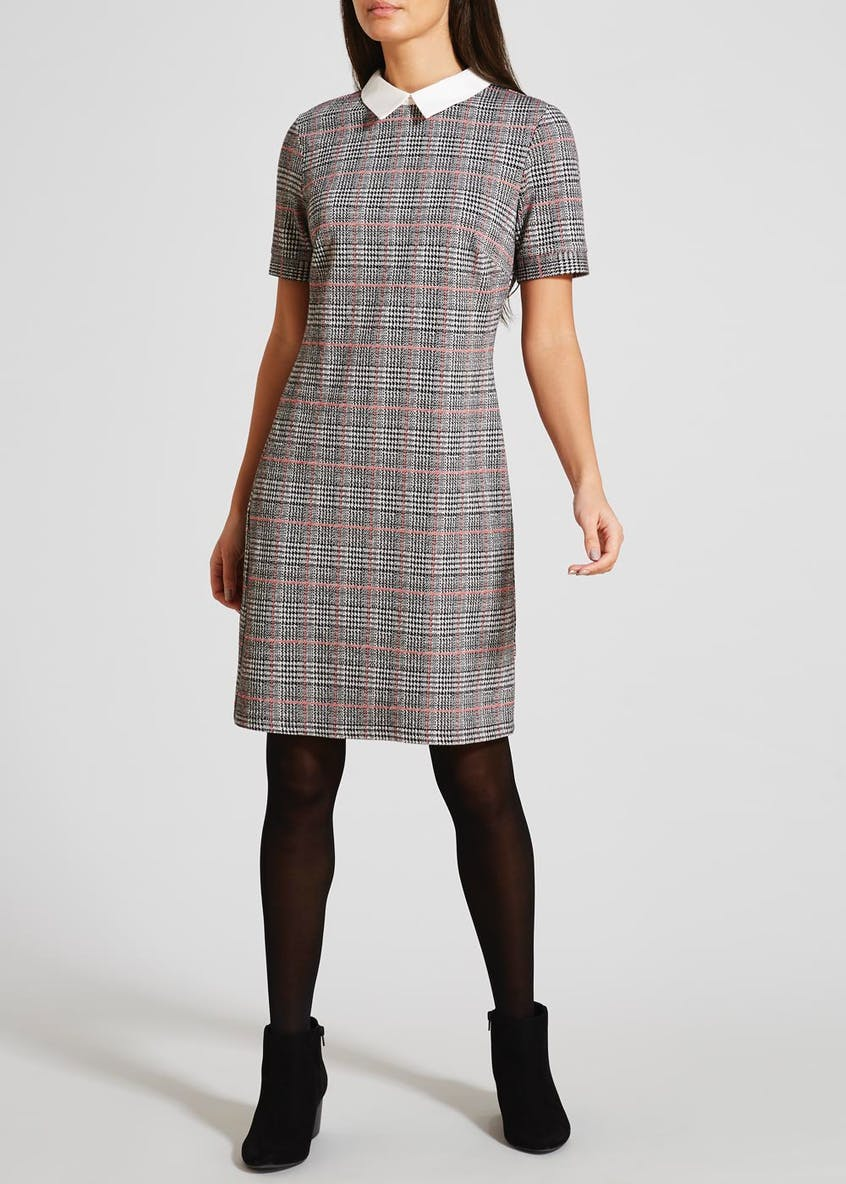 Check Collar Ponte Dress