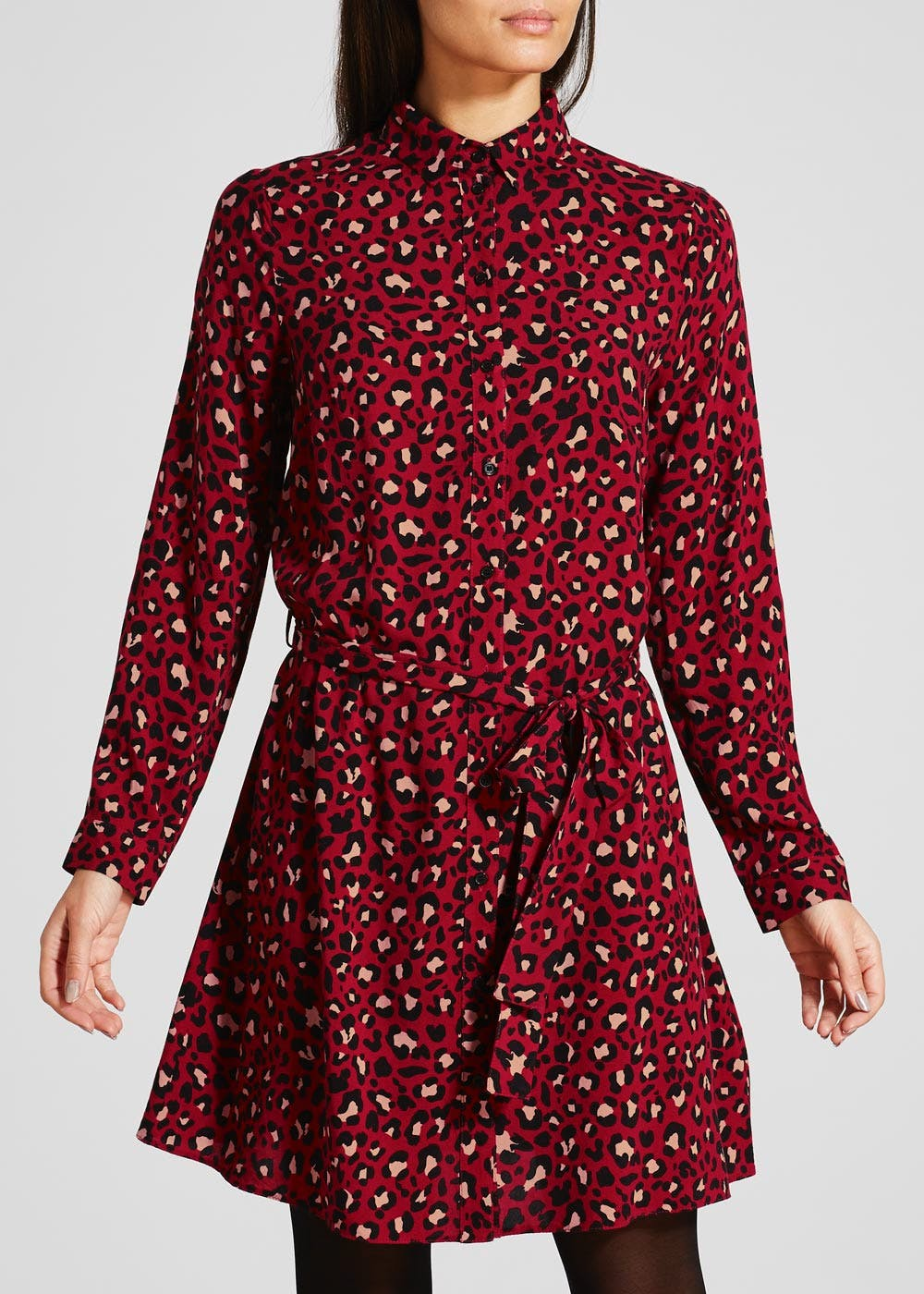 a3544dd811 Animal Print Shirt Dress – Red – Matalan