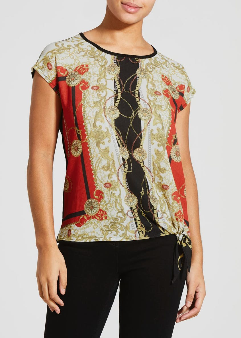 Scarf Print Woven Front Top