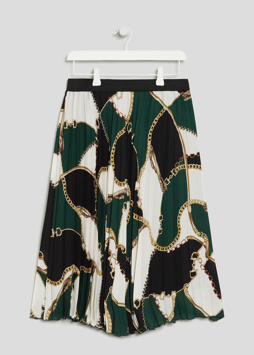 Chain Print Pleated Midi Skirt