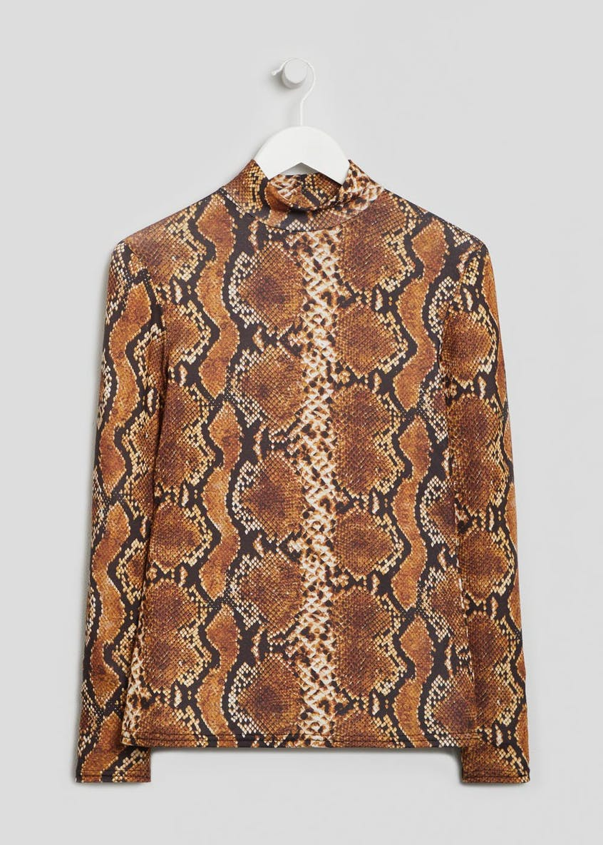 Snake Print High Neck Top