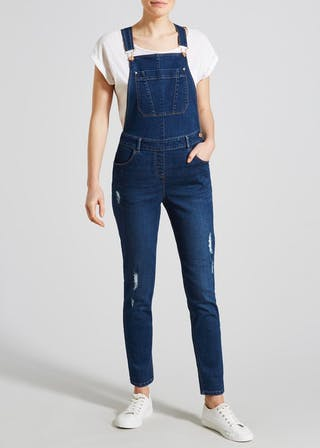 modern style color brilliancy online retailer Distressed Denim Dungarees