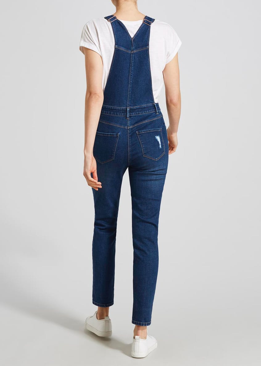 Distressed Denim Dungarees