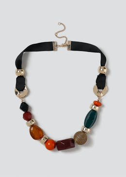 Mixed Bead Short Rope Necklace