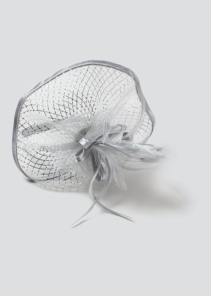 Silver Feather Fascinator