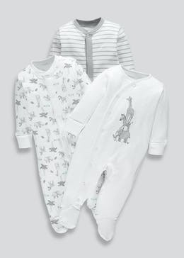 Unisex 3 Pack Baby Grows (Tiny Baby-12mths)