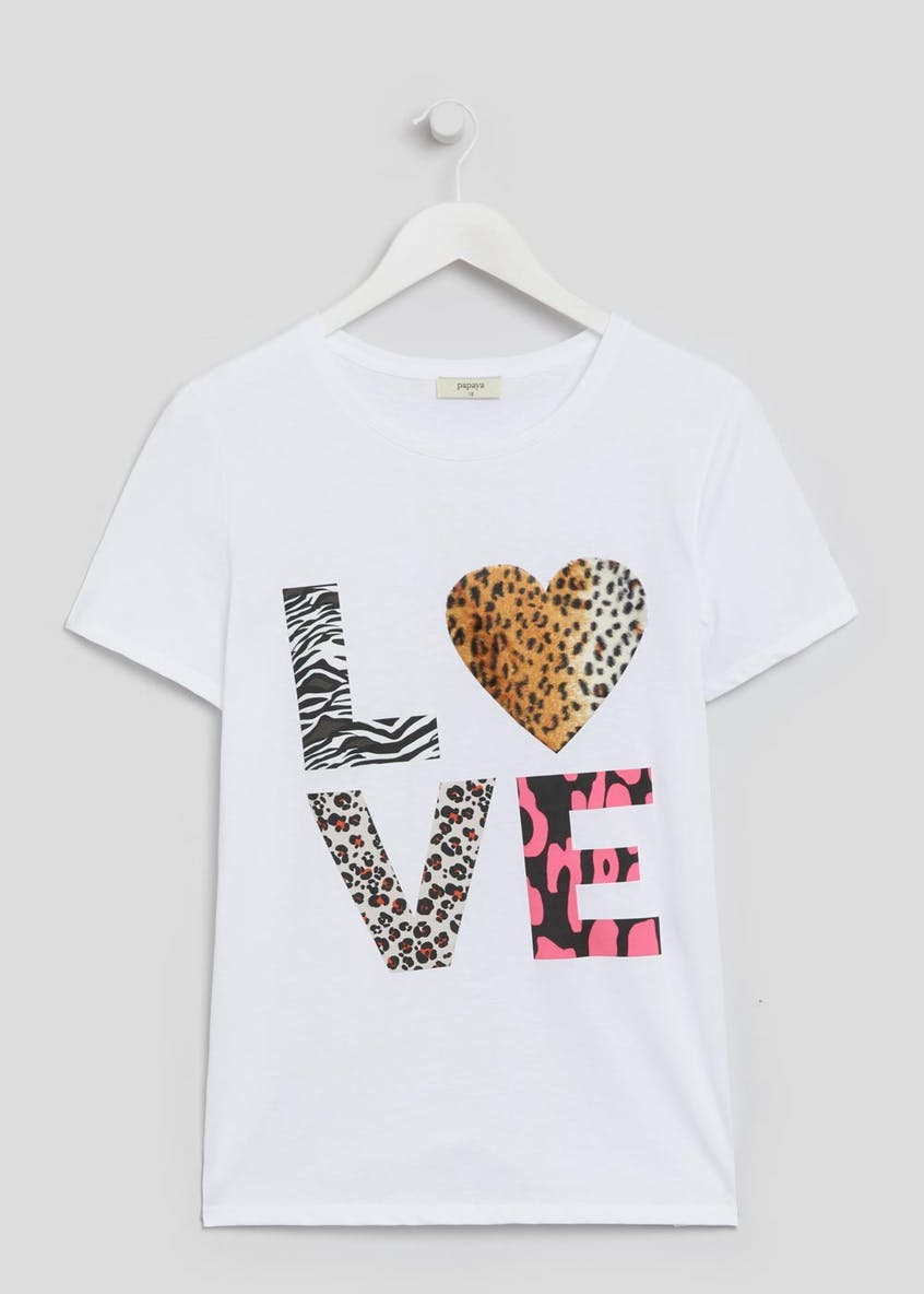 Animal Print Love Slogan T-Shirt