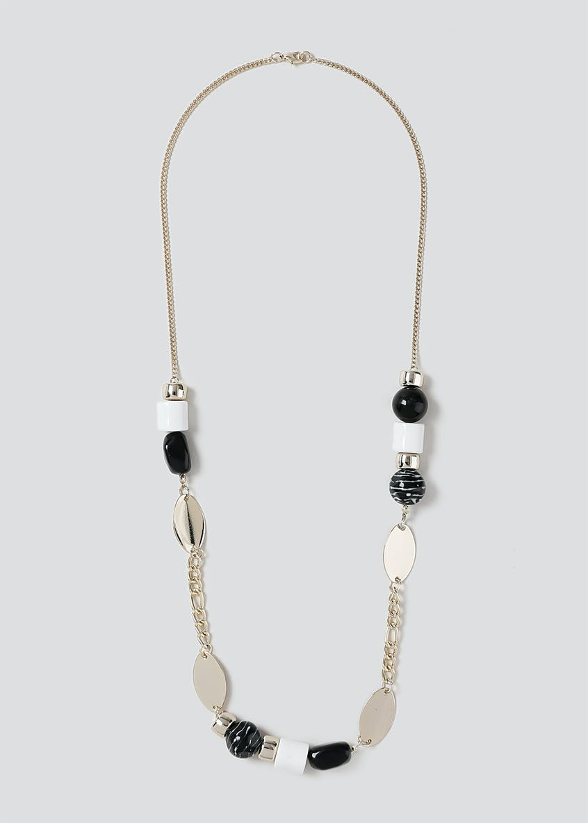 Black & White Bead Rope Necklace