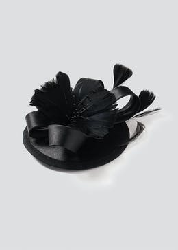 Black Satin Fascinator Hair Clip