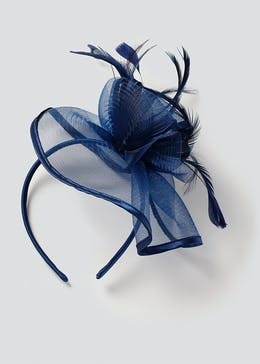 Navy Satin Trim Fascinator