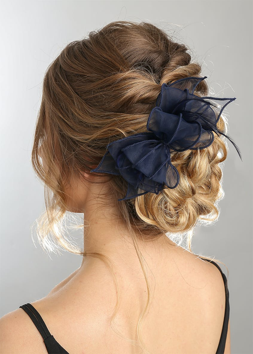 Navy Chiffon Fascinator Clip