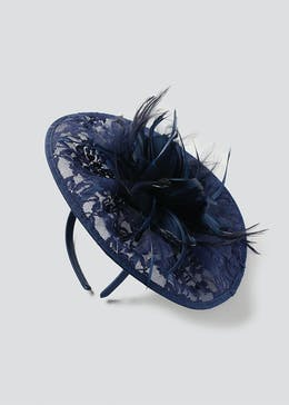 Navy  Lace Fascinator