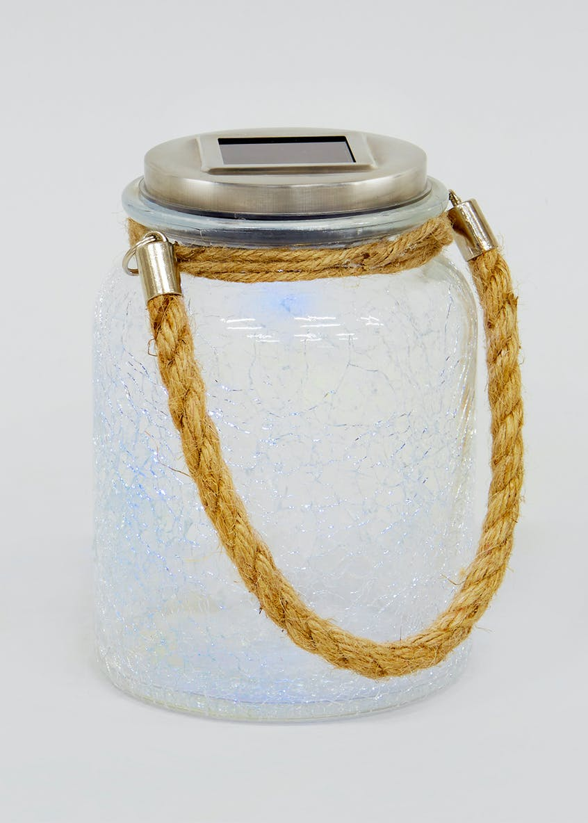 Solar Crackle Glass Jar (15cm x 11cm)