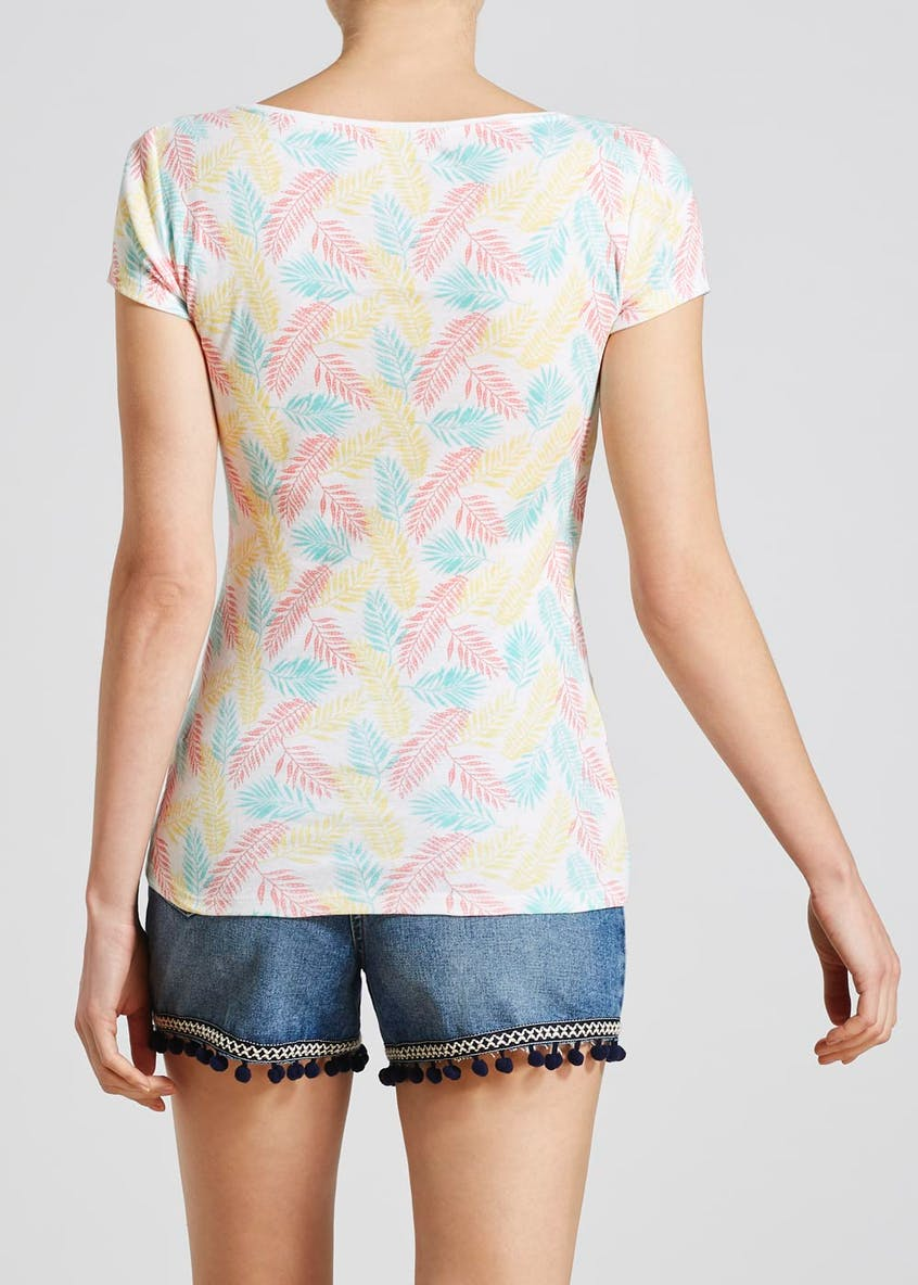 Leaf Print Short Sleeve T-Shirt