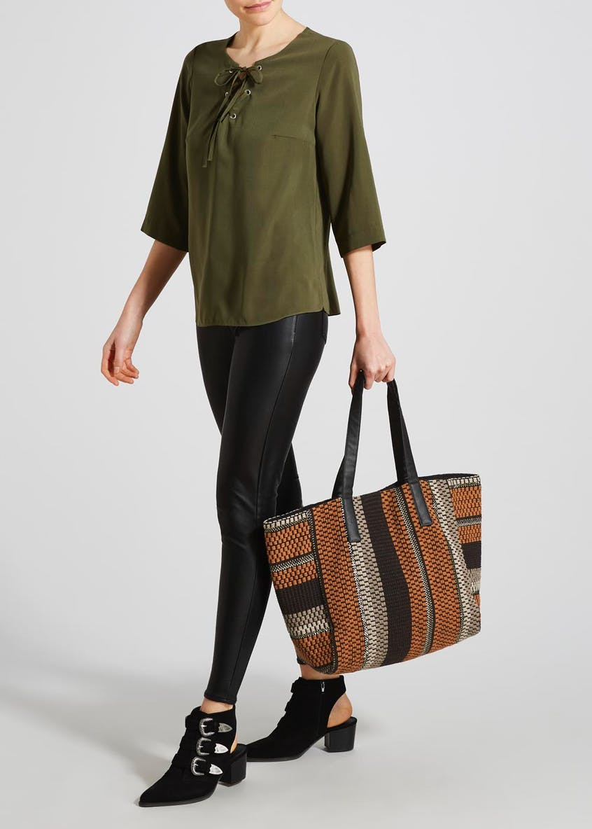 Textured Stripe Tote Bag