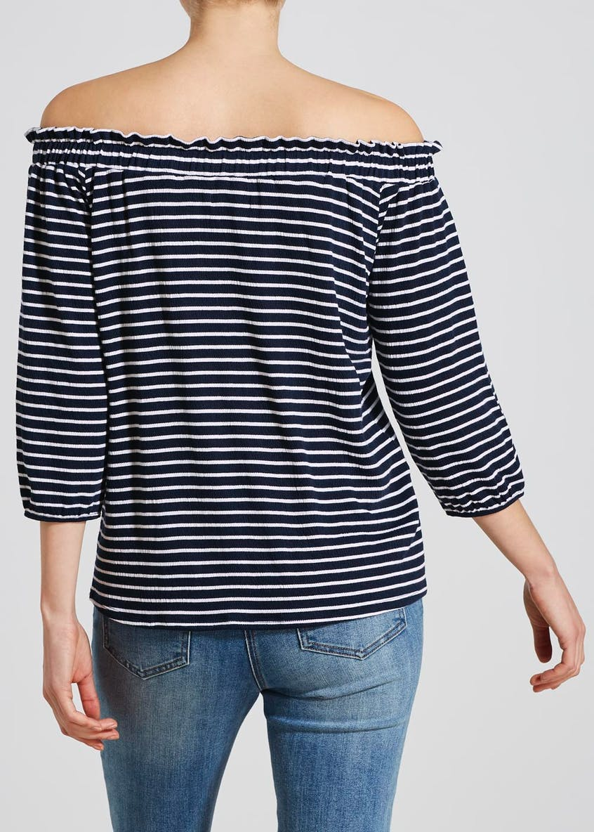 Stripe Textured Bardot Top