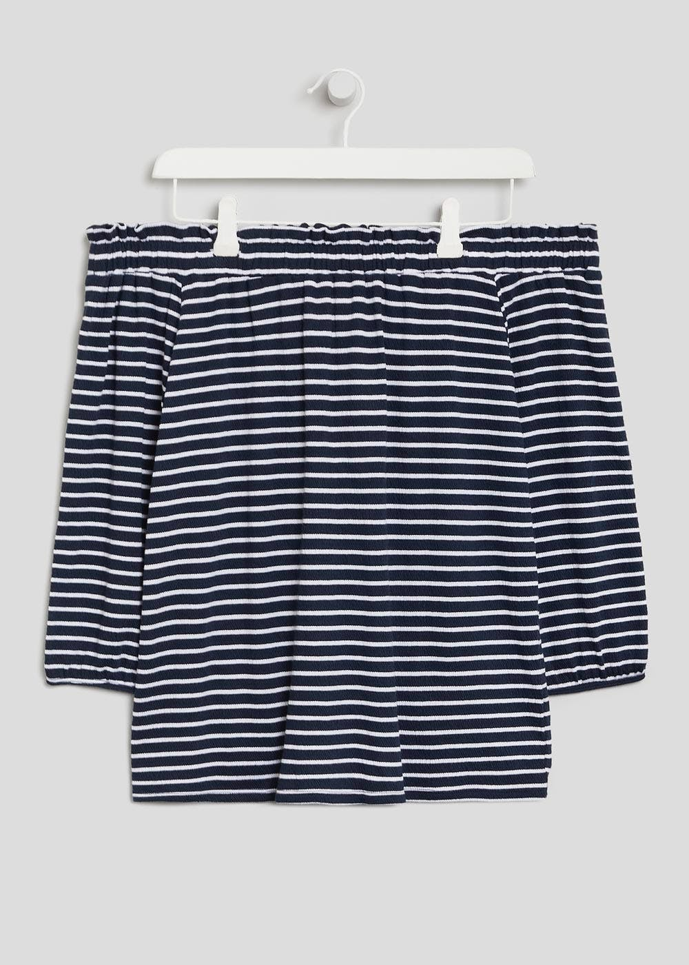a29fbb65e0ed24 Stripe Textured Bardot Top – Navy – Matalan