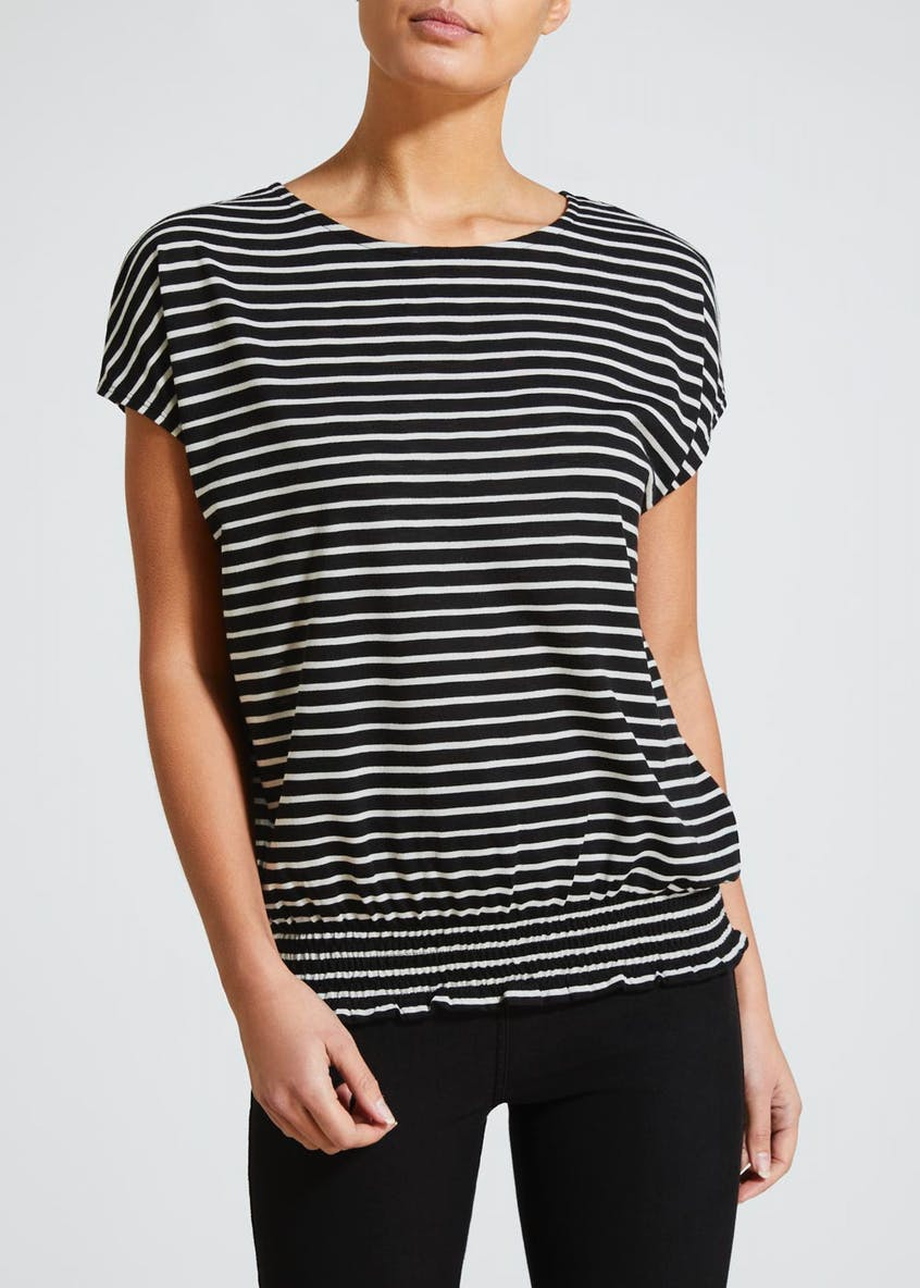 Stripe Shirred Hem T-Shirt