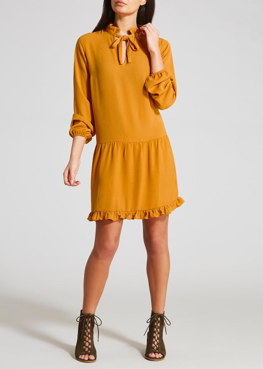 Ruffle Tie Neck Dress