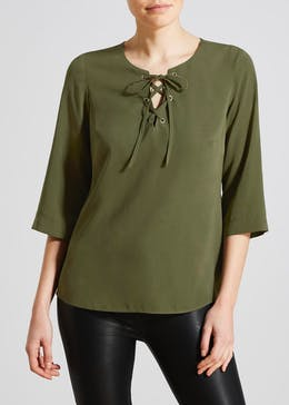 Lattice Front Blouse