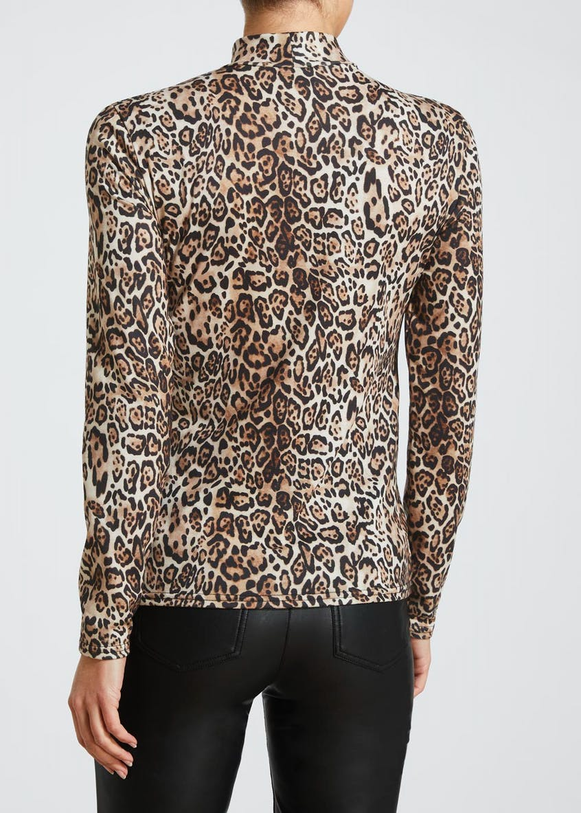 Animal Print High Neck Top