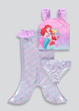 Girls Disney Ariel 3 Piece Swimming Set (2-9yrs)