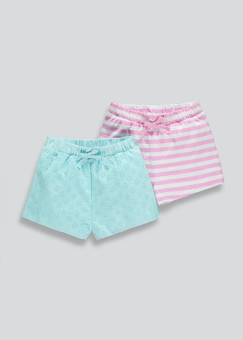 Girls 2 Pack Broderie & Stripe Shorts (9mths-6yrs)
