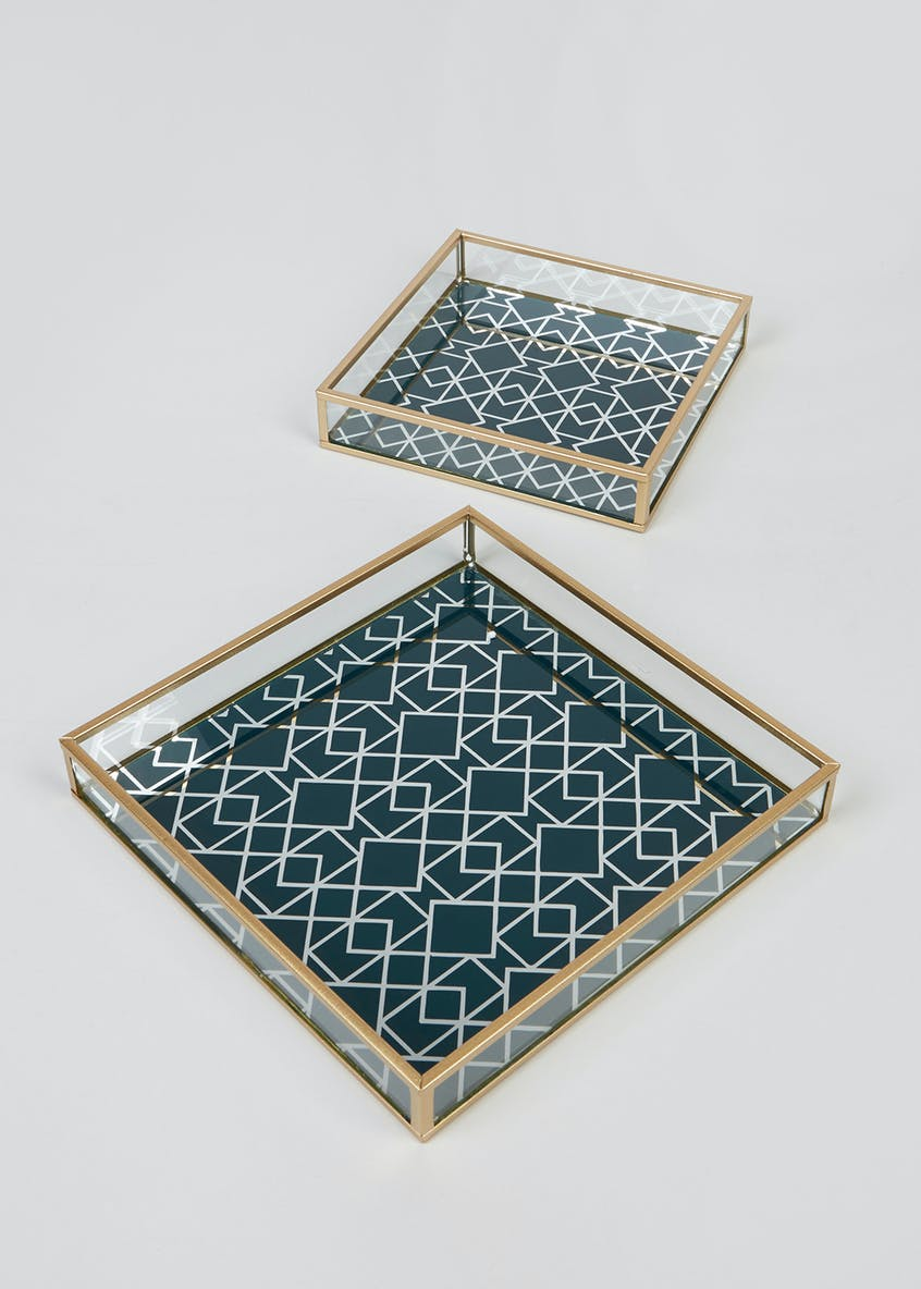 Set of 2 Metal Glass Trays