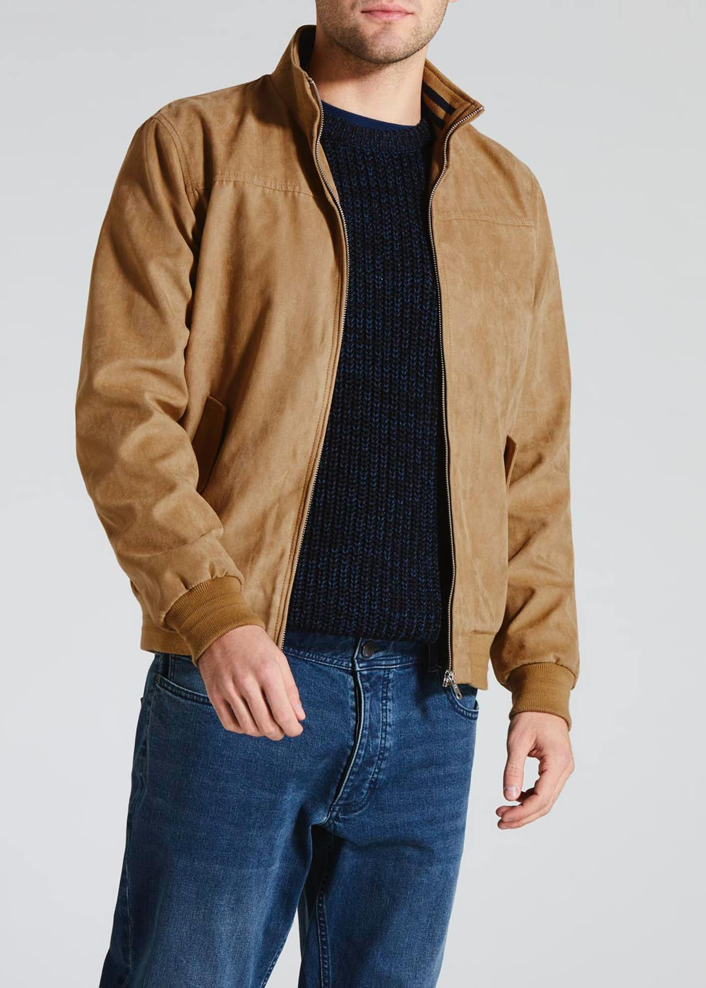 Faux Suede Harrington Jacket
