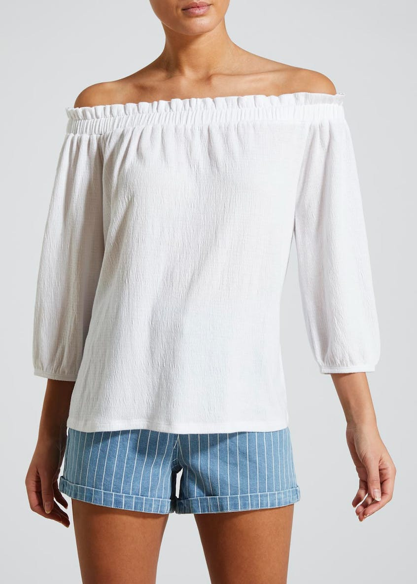 Textured Bardot Top