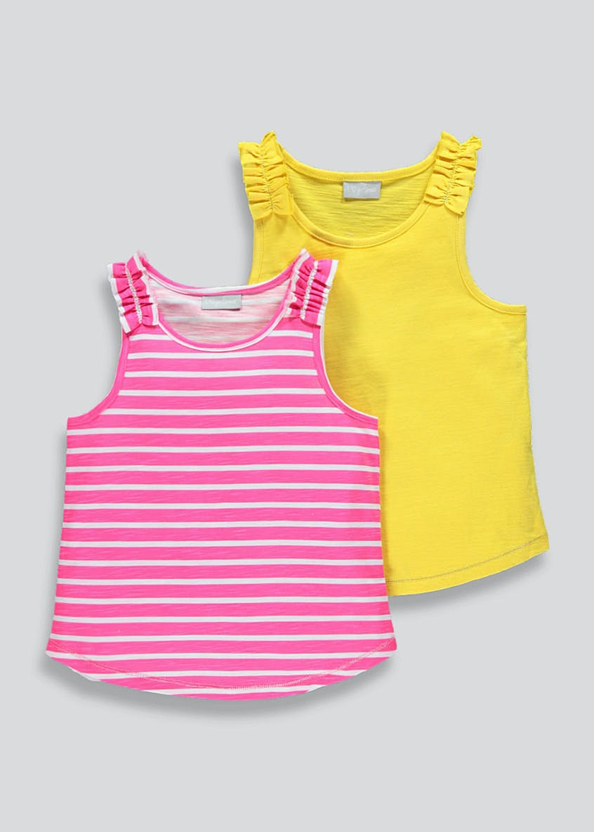 Girls 2 Pack Frill Strap Vests (4-13yrs)