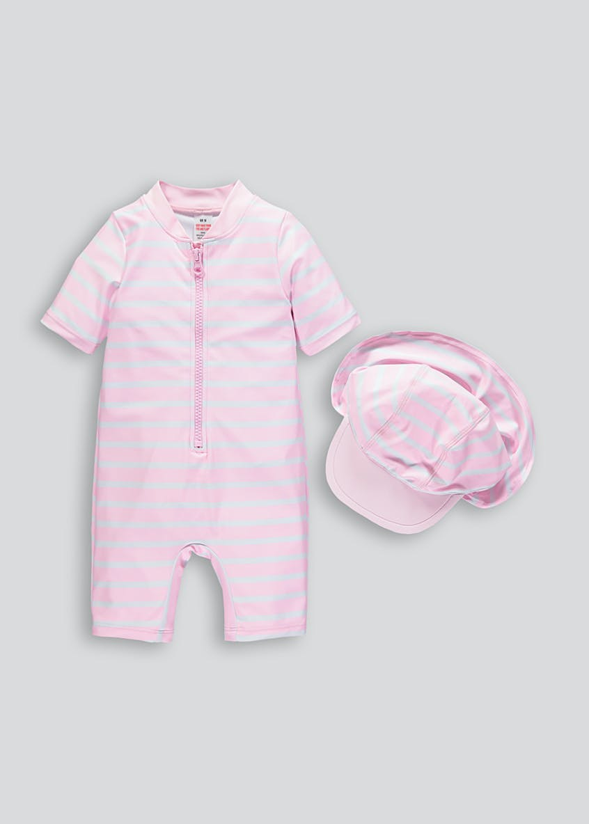 Unisex Stripe Surf Suit & Hat Set (Newborn-12mths)