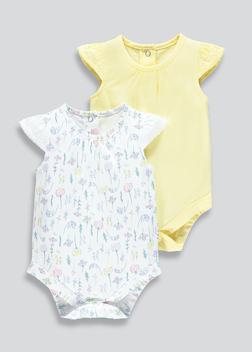 Girls 2 Pack Frill Bodysuits (Newborn-23mths)