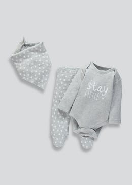 Unisex Slogan Bodysuit Leggings & Bib Set (Tiny Baby-9mths)