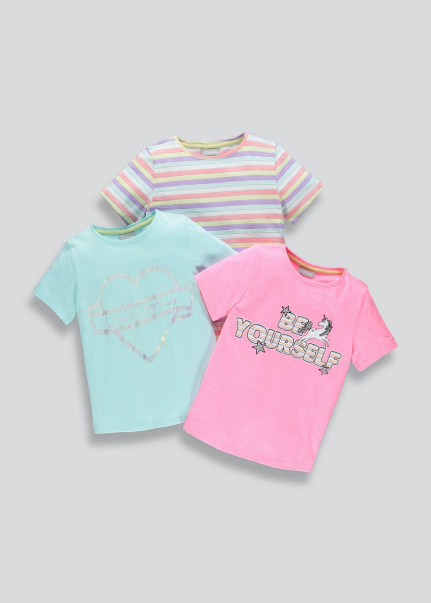 Girls 3 Pack Printed T-Shirts (4-13yrs)